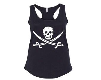Jolly Roger Skull & Crossbones Women's Racerback Tank Top Pirate Tank Top Pirate Skull Tank Top Crossbones Tank Jolly Roger Shirt