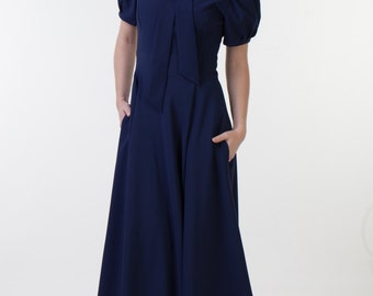 Long navy blue dress with pockets Navy blue bridesmaid dress Navy bridesmaid dress Navy formal dress Navy evening dress Special occasion