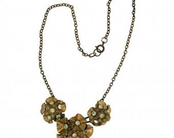 1940s French Gold Tone Floral Rhinestone Vintage Necklace