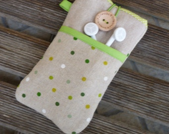 Fabric iPhone SE case cover, iPhone 6 Fabric Case, iPhone 5 cover, iPod Touch 6g case, iPhone 7 Plus case iPhone 7 Pouch, Green dots pocket