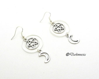 Earrings, pentacle, moon, ring, creoles, protection, goth, gothic, witch, wicca, pagan