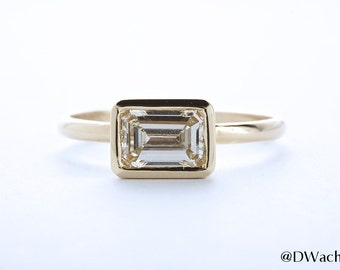 Custom Bezel Set Ring Emerald Cut 14k Yellow Gold 1.07 CT