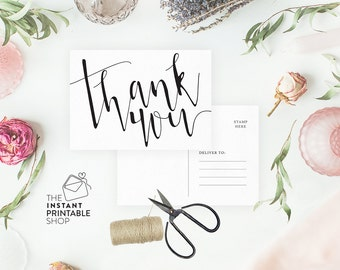 Printable thank you cards, Rustic wedding thank you cards, Rustic thank you cards, Thank you postcard, Thank you wedding cards printable