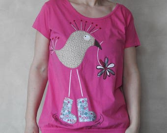Pink Shirt - Pink T Shirt - Bird Tshirt - Bird Shirt - Cute Tshirt - For Women - Womens T Shirts - Applique Tshirt - Hand Painted Shirt