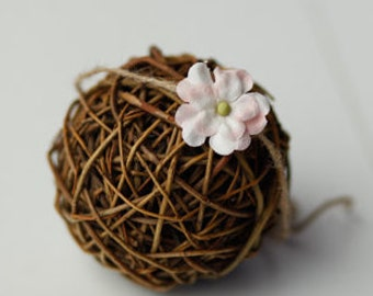 simple pink flower tieback newborn headband