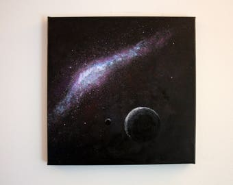 "Galaxy Painting, Acrylic on Canvas 12""x12"", Planets Space Square Painting, Wall Decor"