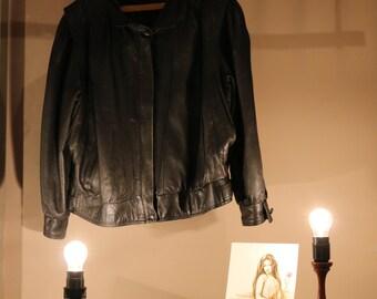 80s vintage leather jacket jacket ladies Blouson hipster blogger rocker biker