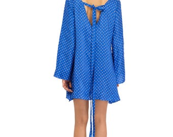 Babydoll Dress, sixties inspired in polkadot blue with tie back.