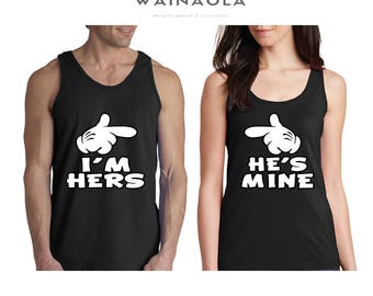 Wainaola I'm Hers He's Mine Couple Tank Top, Matching Couple Tanktops, Couple Matching T Shirts, His and Hers Tee, Hers and His Tshirt