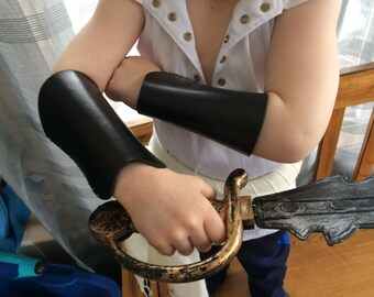 Black Leather Kid Bracers - Youth Sized PAIR