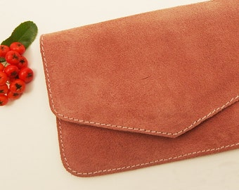 Wallet, card holder, leather suede pink, hand made, female, gift, Christmas