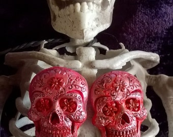 "Handmade & Painted ""Tarantino"" Sugar Skull Gothic Muerto Earrings"