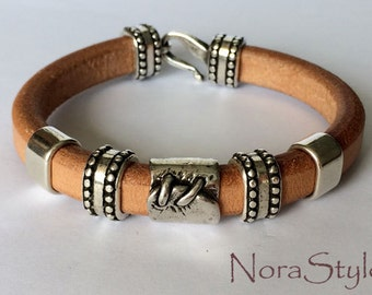 Natural licorice leather bracelet for men