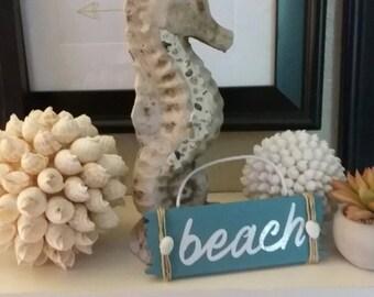 Seashell and twine embellished Wood Beach Sign