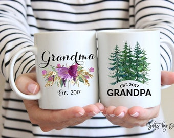 Grandma Grandpa mug set, coffee mug, grandma gift, grandpa gift, christmas gift, established mug,baby announcement pregnancy, mug, m-112-119