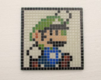 Super Mario World handmade mosaic wall art; Luigi; glass mosaic wall art; retro vintage video games; 8 bit pixel art; 1990s pop art