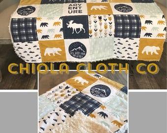 Woodland Quilt, Baby Blanket, Moose, Bear, Mustard, Blue