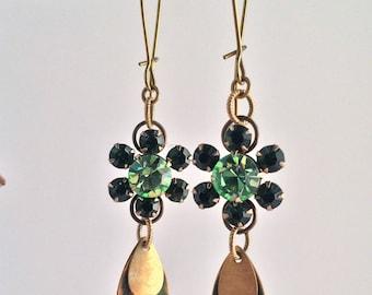 Green Vintage Rhinestone Earrings