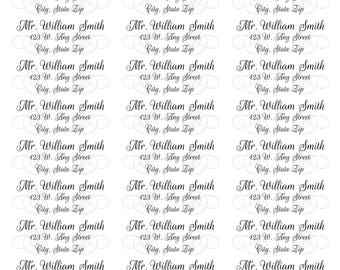 Silver Swirl Calligraphy Address Labels-Formal Calligraphy Address Labels-Calligraphy Return Labels-Silver Design Background Return Address