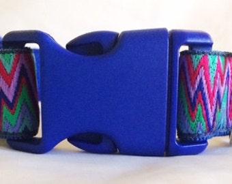 Lightning Zigzag Blue Dog Collar