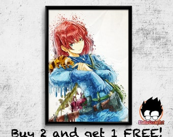 Nausicaa of the Valley of the Wind Watercolor Art Print, Studio Ghibli Anime Poster on Archival Matte Paper or Cotton Canvas no2