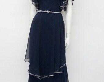 Vintage 70's full length chiffon dark blue & white dress // maxi // Eur 38 / M