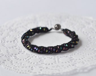 Knitted bracelet with bugle beads Crocheted boho jewelry Black knitted bracelet with iridescent beads One string friendship bracelet