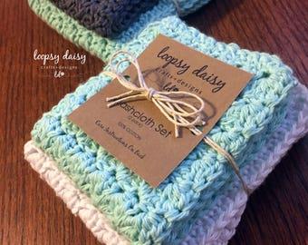 Crochet Dishcloths   Crochet Spa Washcloths   Handmade-100% Cotton   Mother's Day Gift   Gift   Hostess Gift   Housewarming   MADE TO ORDER