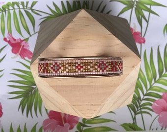 Cuff Bracelet in pink gold metal and weaving of Miyuki seed beads