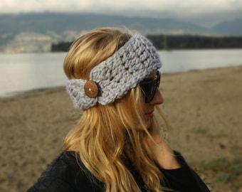Soft Grey Ear Warmer, Crochet, Handmade, Headband, Women's Winter Headband, Gift for Her, Adjustable, Wooden Button