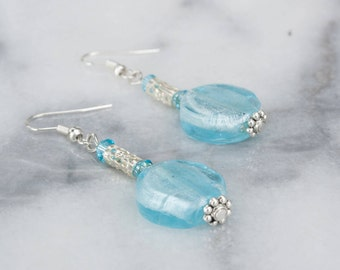 Blue Crystal Dangle Earrings, Silver Earrings, Bead Earrings