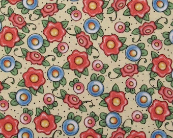 Tea Decadence, Mary Engelbreit for VIP fabrics, Blue, red floral scatter on yellow background, Quilt Fabric 100% Cotton