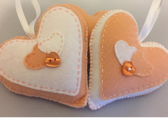 Hand stitched light peach and White hanging hearts, home decor, any occassion, set of 2 hanging felt hearts. (HH006)