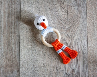 Crochet Pattern Teething Rattle Ring - Stewart Stork
