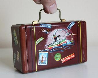 "Vintage Tin Litho ""Miniature Luggage"" Toy Bank - West Germany"