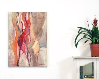Dancers Painting, Abstract Painting, Original Abstract Painting, Original Canvas Painting, Acrylic painting, Woman Painting , Red Painting