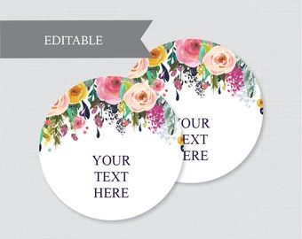 EDITABLE Wedding Tags - Printable Floral Wedding Labels, Colorful Flower Circle Wedding Buffet Labels or Tags, Editable Tags Wedding 0003-B