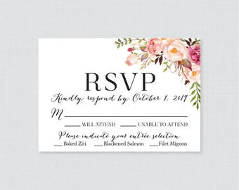Printable OR Printed Wedding RSVP Cards - Pink Floral RSVP Wedding Cards - Rustic Flower Wedding Response Cards, Invitation Reply Cards 0004