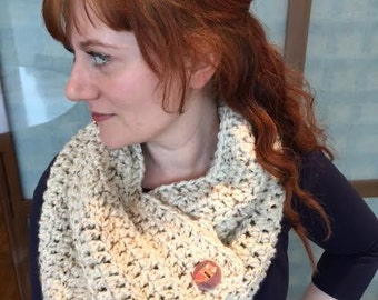 Chunky Crochet Cowl with Owl Buttons