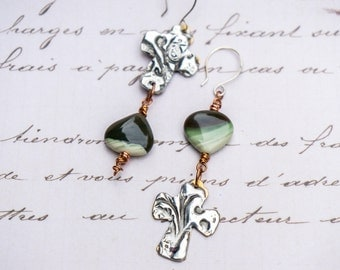 Green Jasper Earrings, Mixed Metal Earrings, Abstract, Boho, Cross Earrings, Silver Cross, Gemstone Earrings, Handmade Earrings, OOAK
