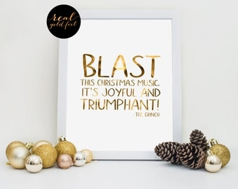 The Grinch Movie Quote, Real Gold Foil Print