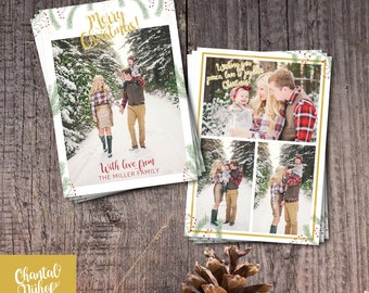 Christmas Card Template - Photoshop template 5x7 card - CNCC1606