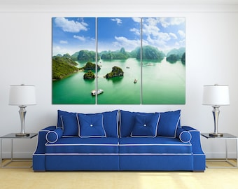 3 Pieces Halong Bay in Vietnam, UNESCO World Heritage Site Leather Print/Extra Large Wall Art/Multi Panel Wall Decor/Better than Canvas!