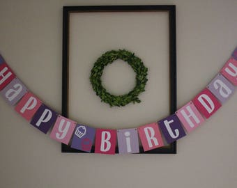 Happy Birthday Banner / Pink, Purple, & White / Cupcakes / Girls Birthday / Birthday Decor / Hanging Banner / Party Decorations
