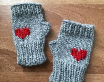 I Heart You - Fingerless Kid Mitts