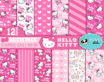 INSTANT DOWNLOAD   Hello Kitty papers   12x12   3600x3600l 12 papers   Printable