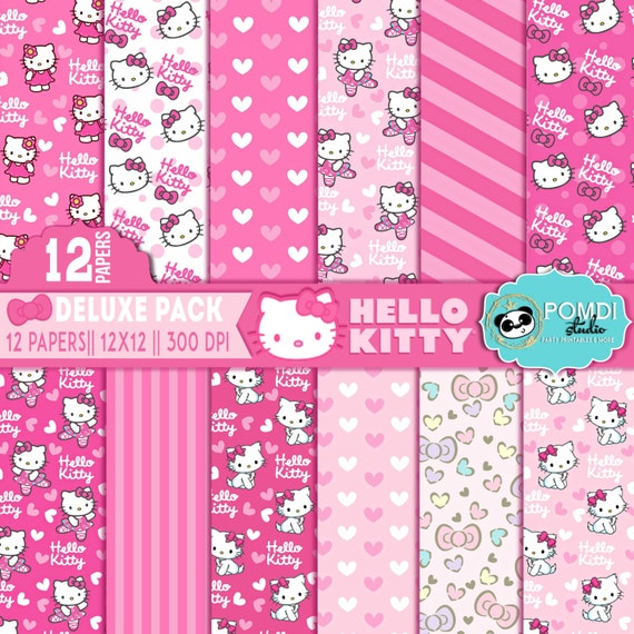 INSTANT DOWNLOAD|| Hello Kitty papers ||12x12 ||3600x3600l|12 papers|| Printable