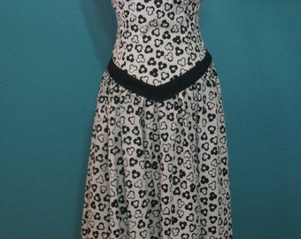 Vintage Black and White Straples Party Dress