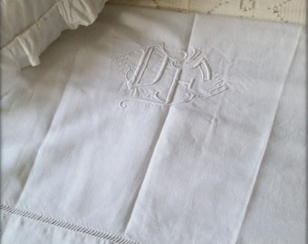 Antique French linen towel with monogram