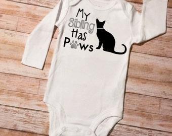 Sibling Shirts, My Sibling Has Paws, Cat Onesie, Baby Shower Gift, Cat Baby Onesie, Sibling Onesie, Baby Onesie, New Baby Gift